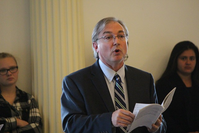 Sen. Phil Baruth introduces his universal background checks amendment Thursday. - PAUL HEINTZ