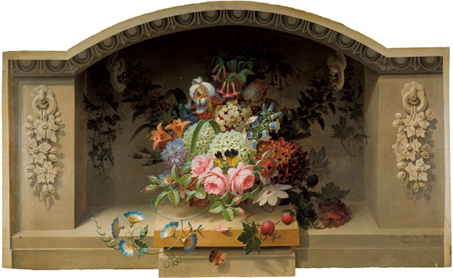 """""""Flowers and Butterfly Fireboard"""" by James Sharp - COURTESY OF SHELBURNE MUSEUM"""