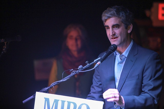 Mayor Miro Weinberger gives his victory speech Tuesday. - LUKE AWTRY
