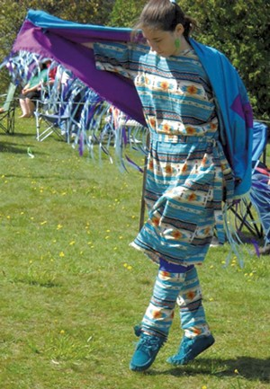 """Lauren Ryea doing a """"fancy shawl"""" dance at a powwow - COURTESY OF CIRCLE OF COURAGE"""