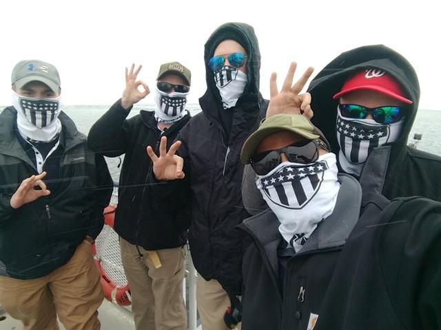 Patriot Front members take a boat trip.