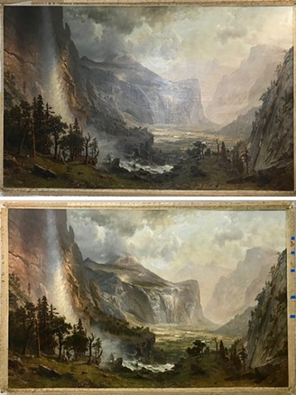 """Before (top) and after (bottom) pictures of """"Domes of the Yosemite"""" depicting the painting's transformation - ST. JOHNSBURY ATHENAEUM"""