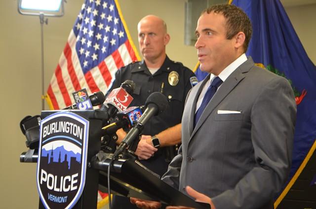 Burlington Police Deputy Chief Shawn Burke, left in uniform, and Burlington chief of police Brandon del Pozo. - FILE: SASHA GOLDSTEIN
