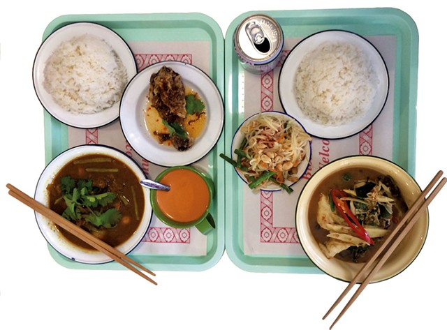 Fried chicken, papaya salad, jungle curry, cha Thai, and hunglay curry at Pumpui Grocer and Curry Shop - MOLLY ZAPP