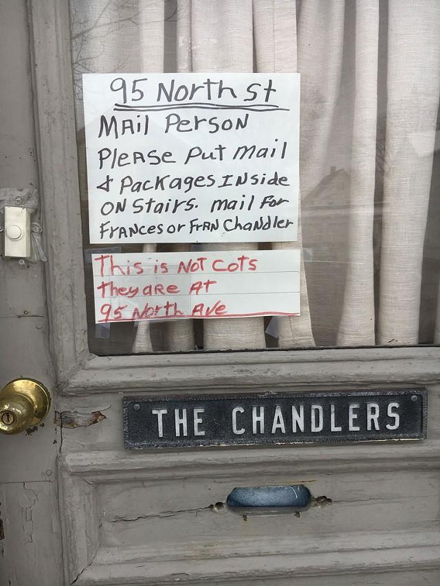 The door at Fran Chandler's home at 95 North Street in Burlington. - MATTHEW ROY