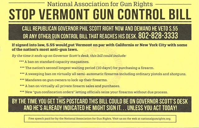 Postcard sent to Vermonters by the National Association for Gun Rights