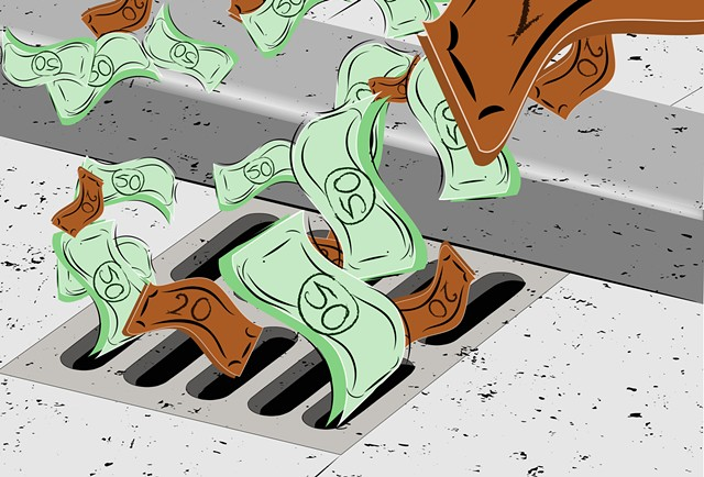 Money down the drain - DREAMSTIME.COM