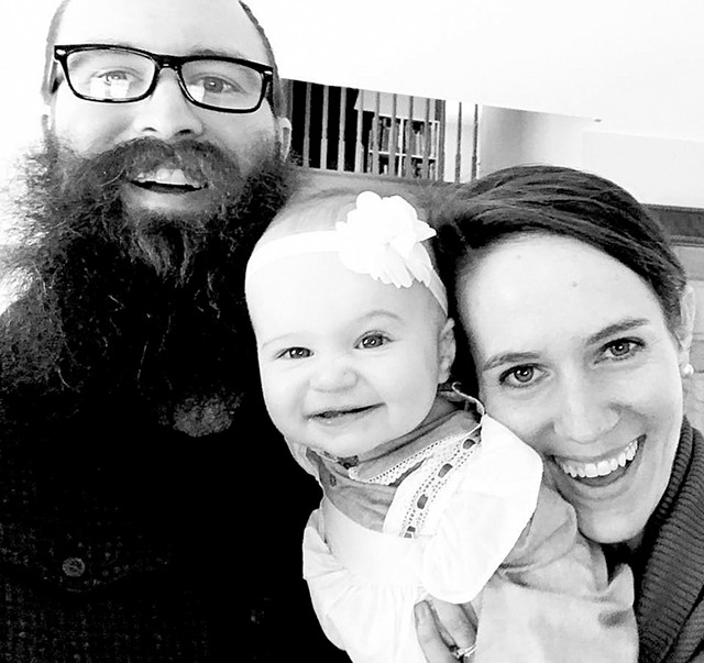 Nate and Elizabeth Thames with their daughter - COURTESY OF FRUGALWOODS.COM