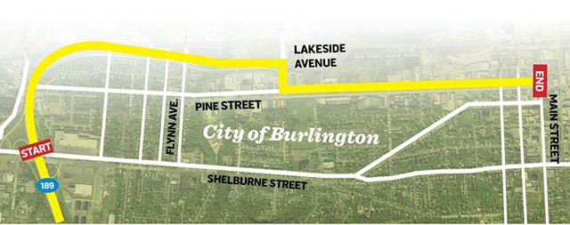 The proposed route of the Champlain Parkway - GRAPHIC BY JOHN JAMES