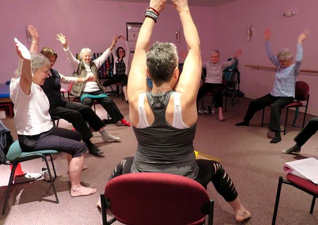 Yoga class at the Residence at Shelburne Bay - MATTHEW THORSEN