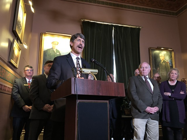 Sen. John Rodgers (D-Essex/Orleans) speaking at a Statehouse press conference Tuesday - ALICIA FREESE