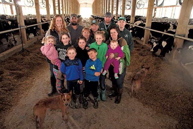 Nancy and Tom Kane (center) with family on their Sheldon farm - MATTHEW THORSEN