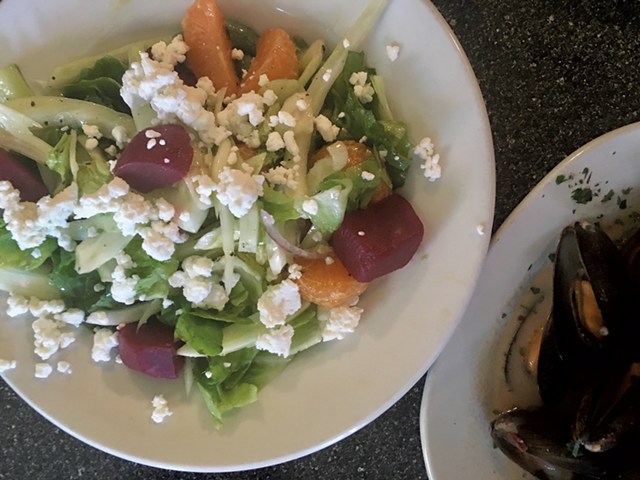 Salad with goat cheese, beets and clementines at Blue Moose Italian Bistro - SADIE WILLIAMS