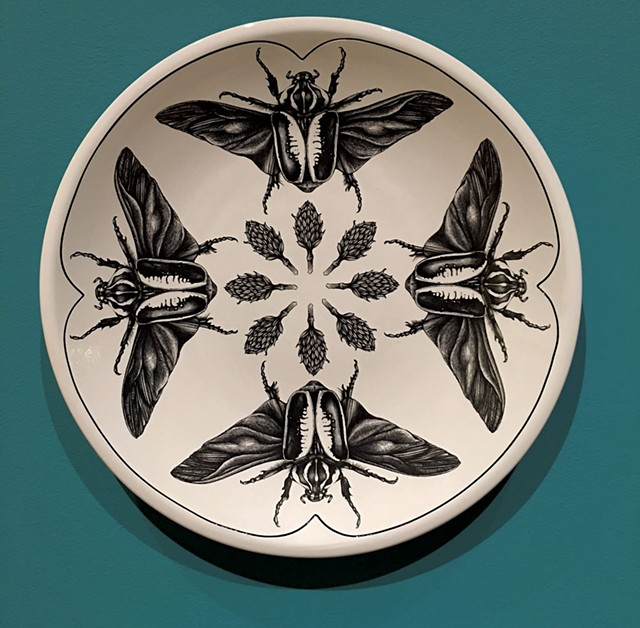"""""""Goliath Beetle Open Wing Platter"""" by Laura Zindel - COURTESY OF SHELBURNE MUSEUM"""