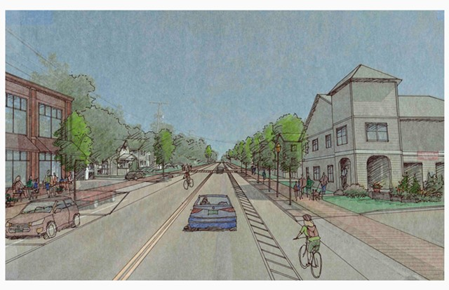 A rendering of the proposed reconstruction of Winooski's Main Street - COURTESY VHB CONSULTING