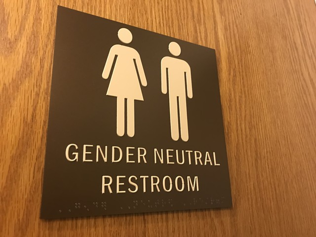 A gender-neutral bathroom in the Vermont Statehouse - TAYLOR DOBBS