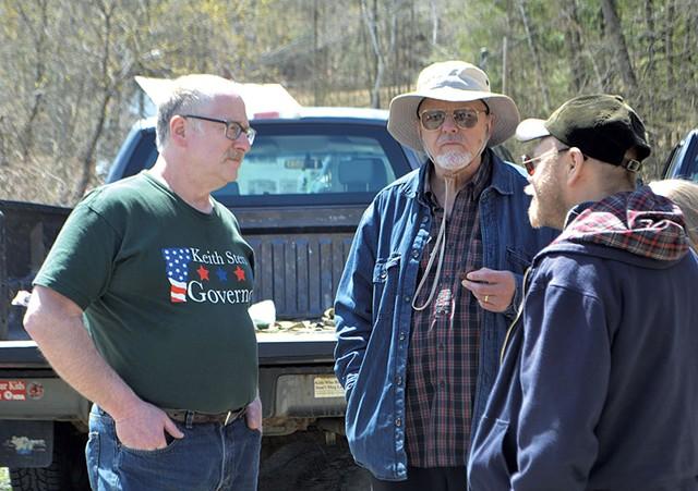 Keith Stern (left) talking with Thomas Hood at St. Michael's Defense in St. Johnsbury - PAUL HEINTZ