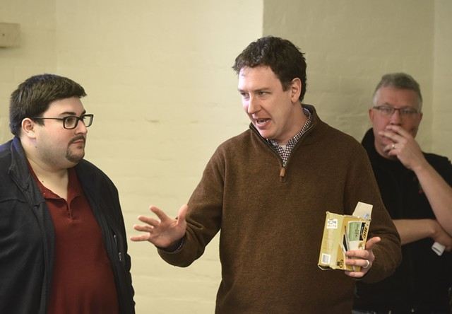 VDP executive director Conor Casey, center, speaking with party political director Brandon Batham, left - FILE: JEB WALLACE-BRODEUR