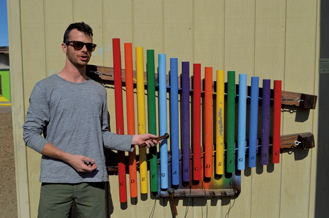 Mike Waters with one of his xylophones - SASHA GOLDSTEIN