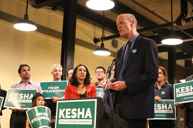 Rep. Bill Botzow introduces Kesha Ram at her October 2015 lieutenant gubernatorial campaign kickoff in Burlington - FILE: PAUL HEINTZ