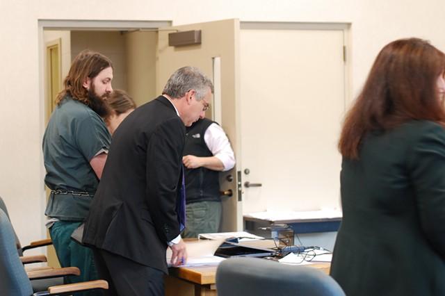 Steven Bourgoin, left, with defense attorney Bob Katims, center - SARA TABIN
