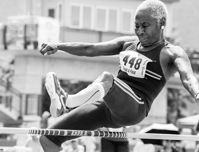 "Elliot Burg, ""Barbara Garrett, 74, high jump"""