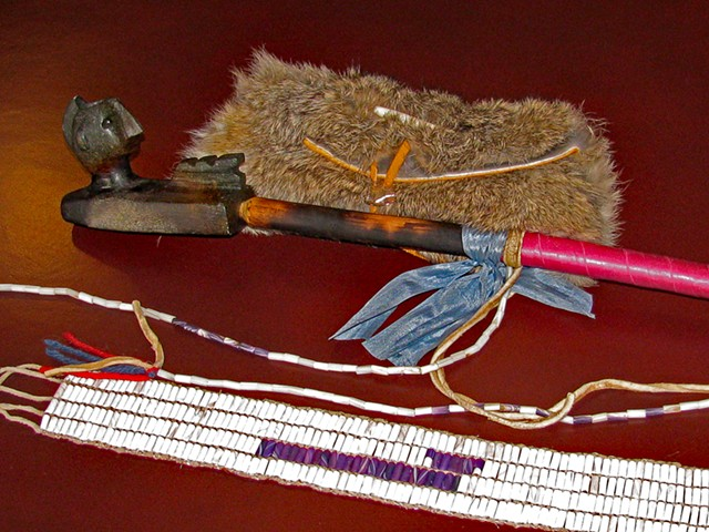 Items given to State of Vermont in 2011: soapstone pipe, fur tobacco pouch, peace wampum belt - CHIEF DON STEVENS