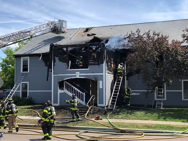 Firefighters working at the South Meadow Apartments - BURLINGTON FIRE DEPARTMENT