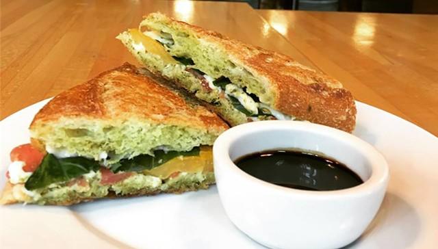 Clementine Catering's basil pesto Caprese sandwich - COURTESY OF CORK WINE BAR & MARKET