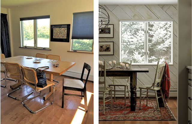 The before (left) and after (right) of a townhouse rental in Stowe designed by Joanne Palmisano - COURTESY  OF JOANNE PALMISANO