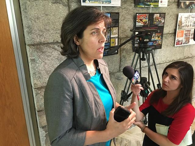 House Speaker Mitzi Johnson speaks with the press after the veto override vote - JOHN WALTERS