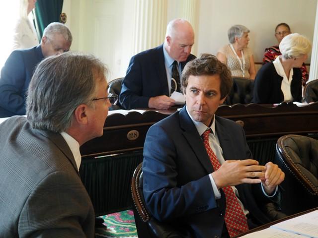 Sen. Phil Baruth (D/P-Chittenden), left, speaking with Senate President Pro Tempore Tim Ashe (D/P-Chittenden) - TAYLOR DOBBS