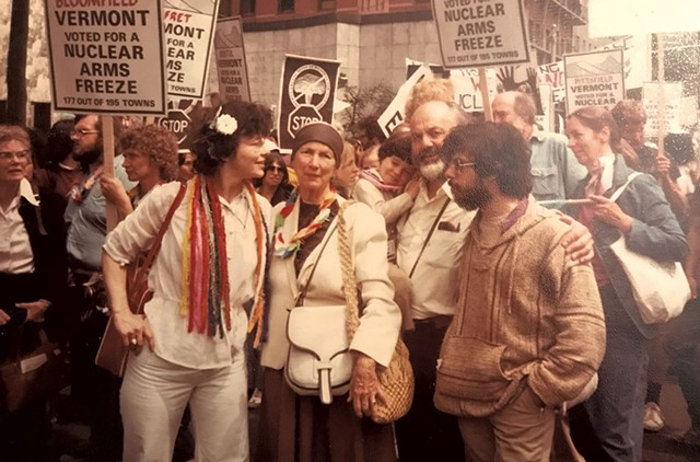 Left to right: Robin Lloyd; Robin's mother, Mary Norris Lloyd; Jesse Lloyd Guma in the arms of Bernard O'Shea; and Greg Guma at the Nuclear Freeze Rally in New York City on June 12,1982 - COURTESY OF ROBIN LLOYD