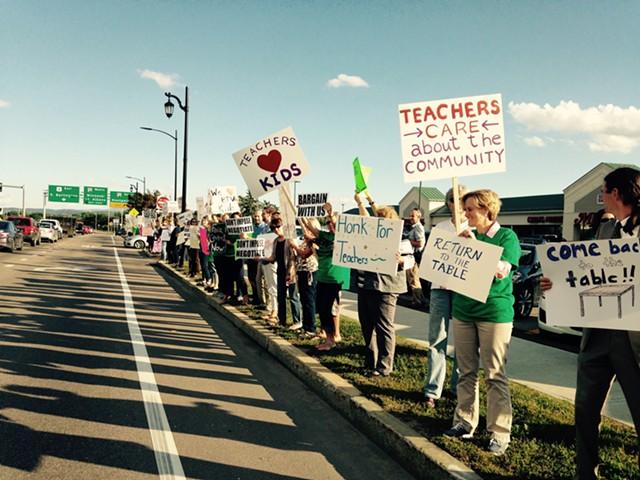 Burlington teachers picketing in 2016 - FILE: MOLLY WALSH
