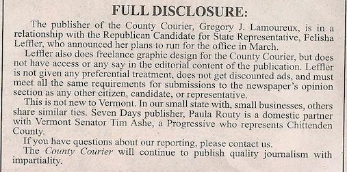 The County Courier's disclosure - JOHN WALTERS