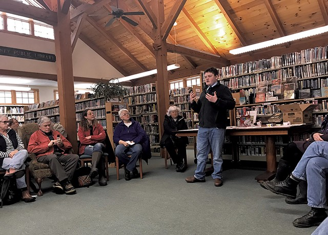 Sonneborn speaking at a Vermont library - COURTESY OF ETHAN SONNEBORN