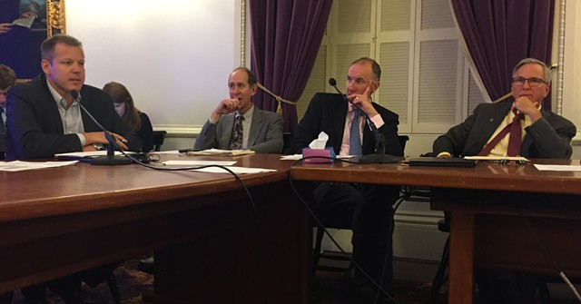 Left to right: Tax Commissioner Kaj Samsom, Health Commissioner Mark Levine, assistant attorney general Ultan Doyle and Public Safety Commissioner Tom Anderson at Monday's meeting - SASHA GOLDSTEIN