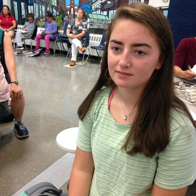 The Register newspaper co-editor Julia Shannon-Grillo at Thursday's school board meeting - MOLLY WALSH