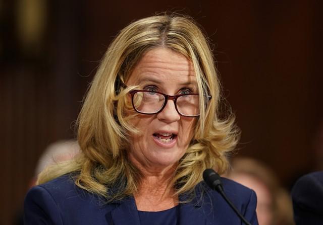Christine Blasey Ford testifying before the Senate Judiciary Committee - AP PHOTO/ANDREW HARNIK