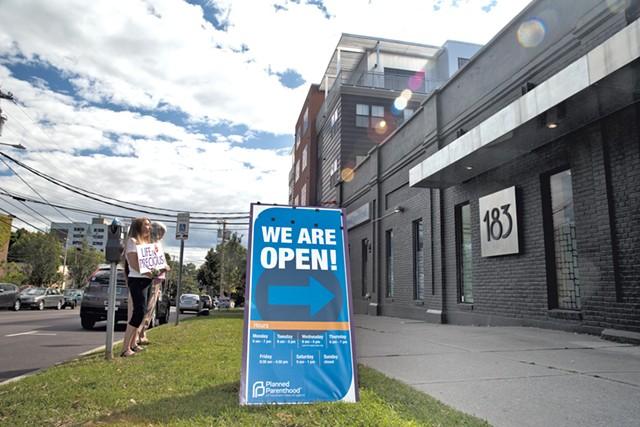 Protesters outside Planned Parenthood in Burlington - FILE: MATTHEW THORSEN