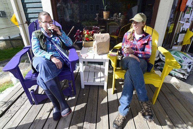On the front porch of Harry's Hardware, Cabot - JEB WALLACE-BRODEUR