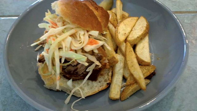 Maple Soul's pulled-pork sandwich with fries - COURTESY OF MAPLE SOUL