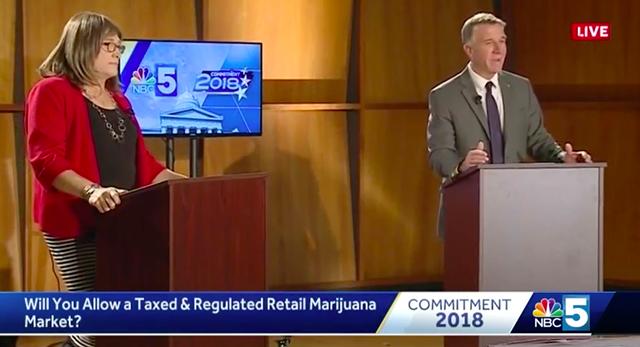 Christine Hallquist and Gov. Phil Scott at Thursday's debate. - SCREENSHOT