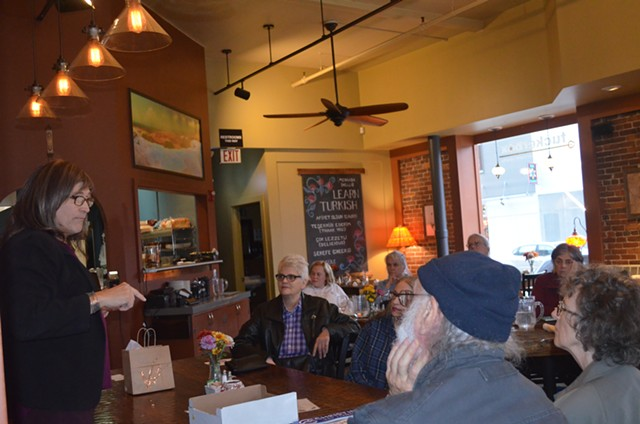 Vermonters listen to during Democratic candidate for governor Christine Hallquist. - ALICIA FREESE