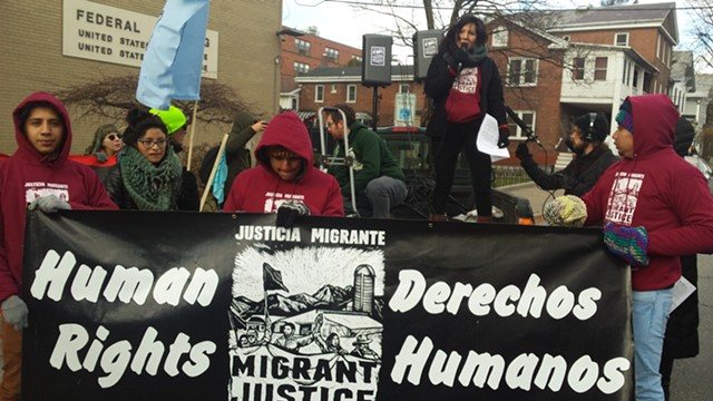 The Migrant Justice rally outside the federal courthouse - KYMELYA SARI