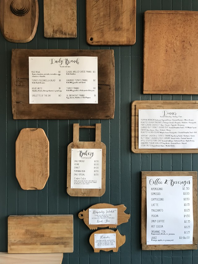 Menu board at Vergennes Laundry by CK - SALLY POLLAK