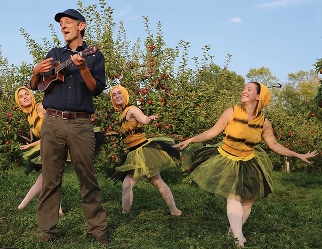 Mister Chris with bee dancers at Shelburne Orchards - COURTESY OF VERMONT PBS