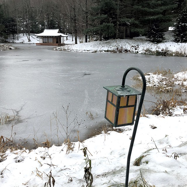 Pond and teahouse on the Singh property - KIRK KARDASHIAN