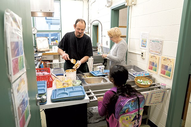 Chef Jason Marcoux at the Holland Elementary School cafeteria - DON WHIPPLE