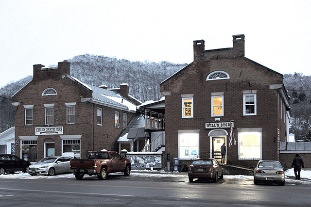 Chelsea's twin storefronts: the former Chelsea Country Store and Will's Store - DYLAN KELLEY